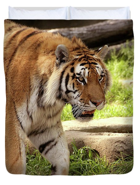 Tiger On The Hunt Duvet Cover by Gordon Dean II