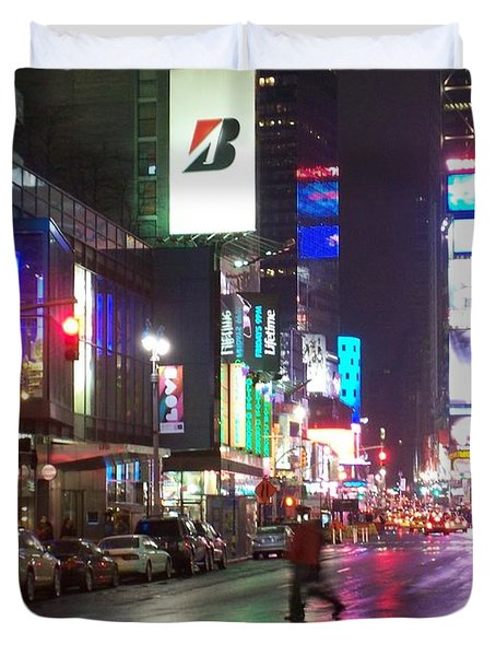 Times Square in the rain 2 Duvet Cover by Anita Burgermeister