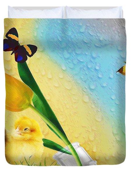 Tiptoe Through The Tulips Duvet Cover by Liane Wright