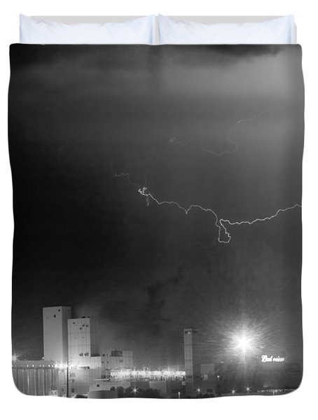 To The Right Budweiser Lightning Strike BW Duvet Cover by James BO  Insogna