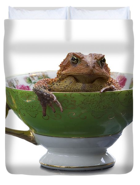 Toad In A Teacup Duvet Cover by Ron Jones