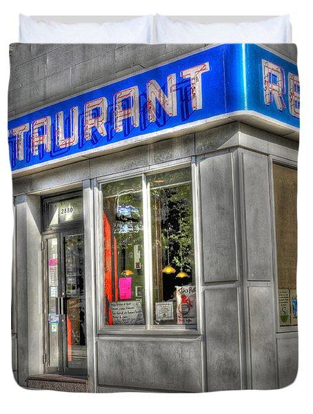 Tom's Restaurant Of Seinfeld Fame Duvet Cover by Randy Aveille