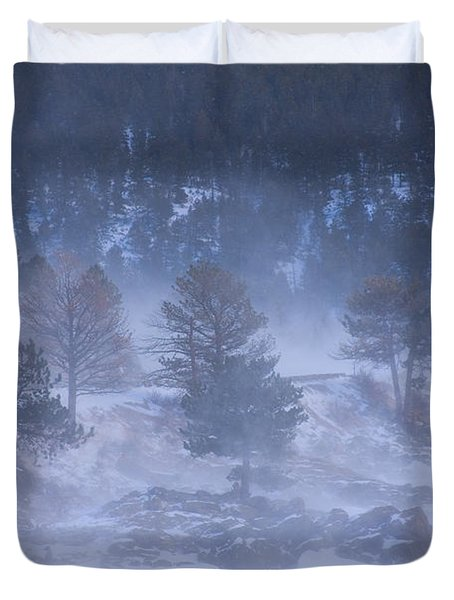 Top of Boulder Canyon Winter Snow Duvet Cover by James BO  Insogna