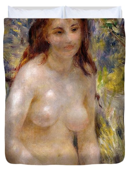 Torso Effect Of Sunlight Duvet Cover by Pierre Auguste Renoir