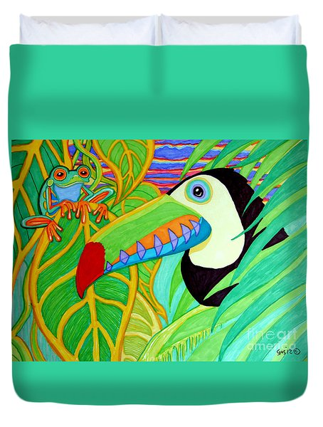 Toucan And Red Eyed Tree Frog Duvet Cover by Nick Gustafson