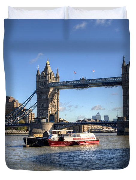 Tower Bridge With Canary Wharf In The Background Duvet Cover by Chris Day