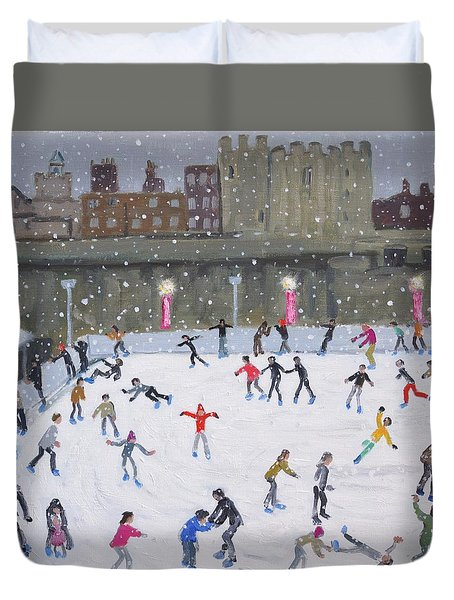 Tower Of London Ice Rink Duvet Cover by Andrew Macara