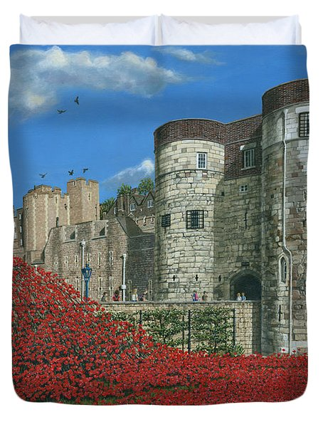 Tower Of London Poppies - Blood Swept Lands And Seas Of Red  Duvet Cover by Richard Harpum