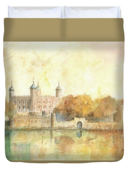 Tower Of London Watercolor Duvet Cover by Juan Bosco