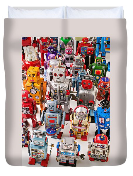 Toy Robots Duvet Cover by Garry Gay