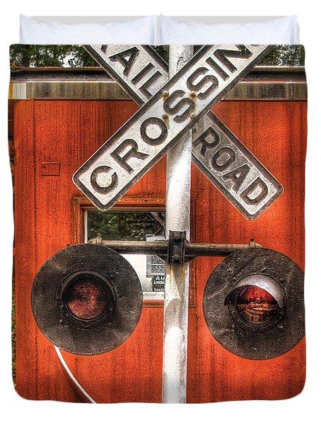 Train - Yard - Railroad Crossing Duvet Cover by Mike Savad