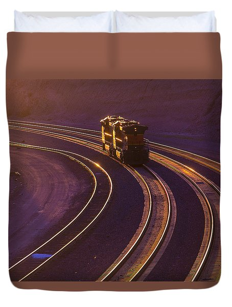 Train At Sunset Duvet Cover by Garry Gay