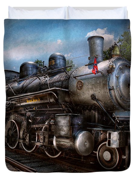 Train - Steam - 385 Fully Restored Duvet Cover by Mike Savad