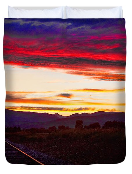 Train Track Sunset Duvet Cover by James BO  Insogna