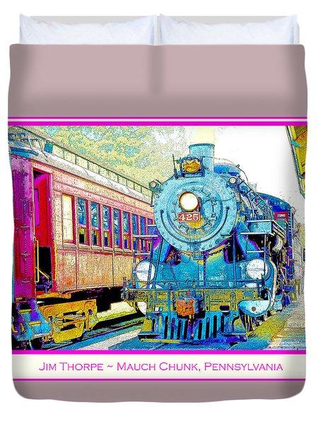 Duvet Cover featuring the digital art Trains In Station Jim Thorpe Pennsylvania by A Gurmankin