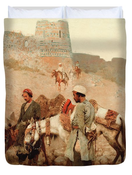 Traveling In Persia Duvet Cover by Edwin Lord Weeks
