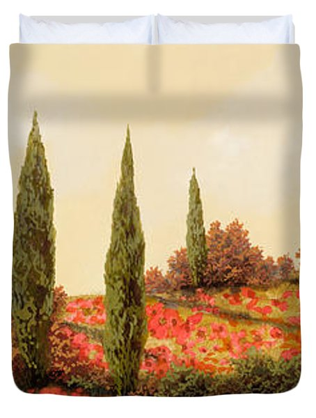 tre case tra i papaveri Duvet Cover by Guido Borelli