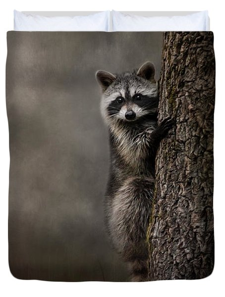 Tree Hugger Raccoon Art Duvet Cover by Jai Johnson