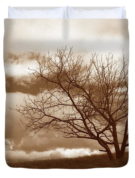 Tree In Storm Duvet Cover by Kathy Yates