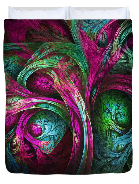 Tree of Life-Pink and Blue Duvet Cover by Tammy Wetzel