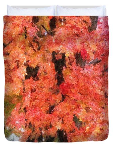 Trees Aflame Duvet Cover by Jeff Kolker