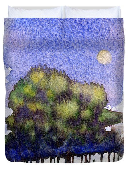 Trees At Moon Rise Duvet Cover by John D Benson