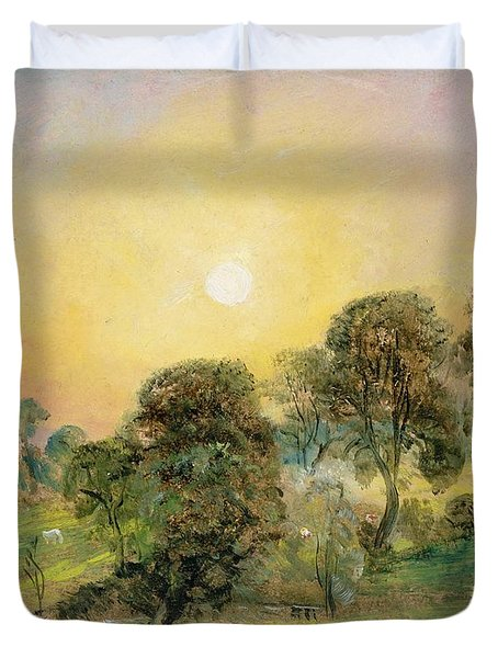 Trees On Hampstead Heath At Sunset Duvet Cover by John Constable