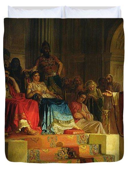 Trial Of The Apostle Paul Duvet Cover by Nikolai K Bodarevski