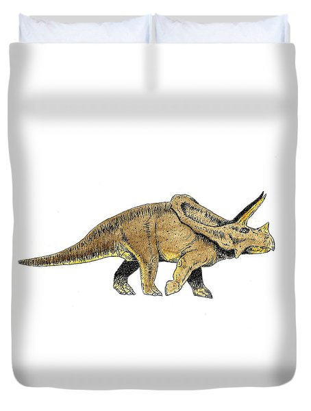 Triceratops Duvet Cover by Michael Vigliotti