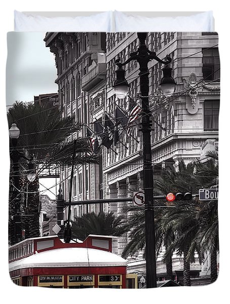 Trolley On Bourbon And Canal Duvet Cover by Tammy Wetzel