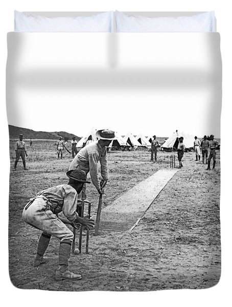 Troops Playing Cricket Duvet Cover by Underwood Archives