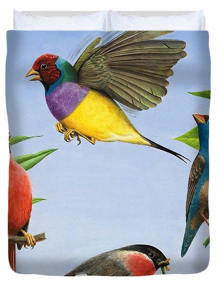 Tropical Birds Duvet Cover by RB Davis