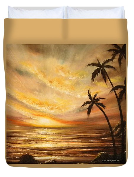 Tropical Sunset 64 Duvet Cover by Gina De Gorna