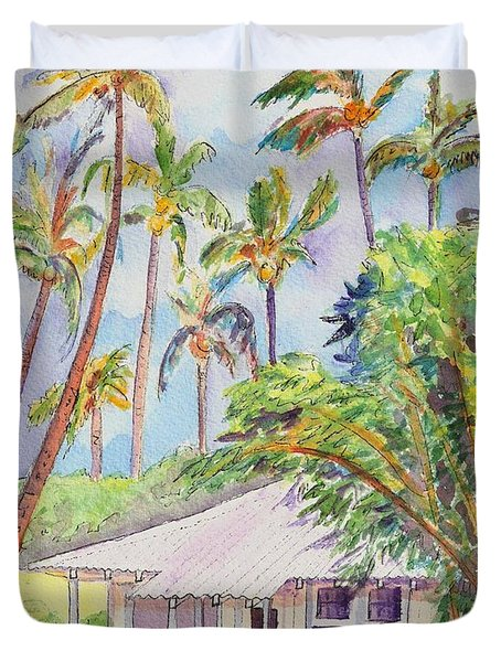 Tropical Waimea Cottage Duvet Cover by Marionette Taboniar
