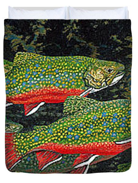 Trout Art Brook Trout Fish Artwork Giclee Wildlife Underwater Duvet Cover by Baslee Troutman