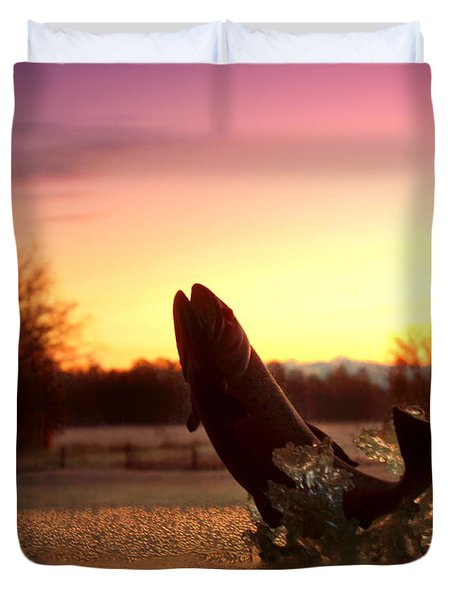 Trout Sunrise Duvet Cover by Joyce Dickens