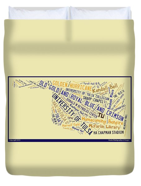 Tu Word Art University Of Tulsa Duvet Cover by Roberta Peake
