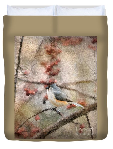 Tufted Titmouse 2 Duvet Cover by Betty LaRue