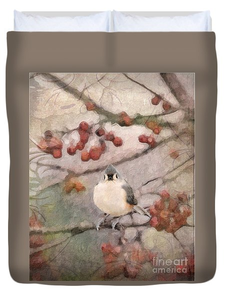 Tufted Titmouse Duvet Cover by Betty LaRue