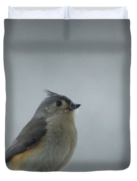 Tufted Titmouse In The Snow Duvet Cover by Cricket Hackmann