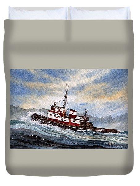 Tugboat Earnest Duvet Cover by James Williamson