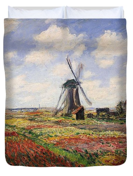 Tulip Fields With The Rijnsburg Windmill Duvet Cover by Claude Monet