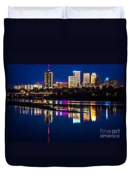 Tulsa Skyline At Twilight Duvet Cover by Tamyra Ayles