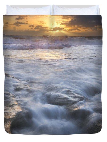 Tumbling Surf Duvet Cover by Debra and Dave Vanderlaan