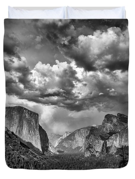 Tunnel View In Black And White Duvet Cover by Rick Berk