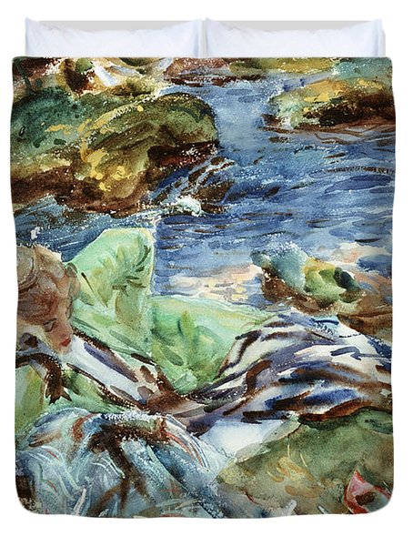 Turkish Woman By A Stream Duvet Cover by John Singer Sargent