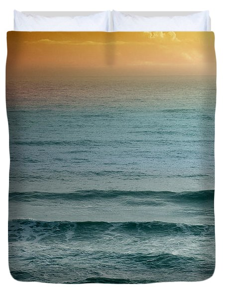 Turquoise Amber Sunrise Duvet Cover by Maria Eames