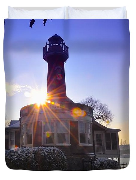 Turtle Rock Light House At Sunrise Duvet Cover by Bill Cannon