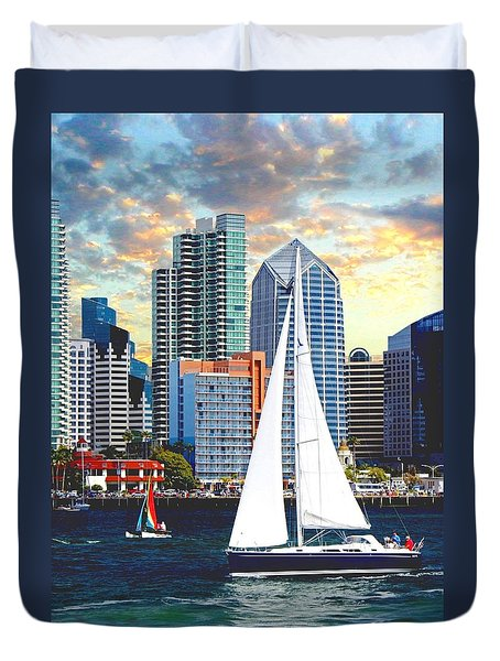Twilight Harbor Curise1 Duvet Cover by Ronald Chambers