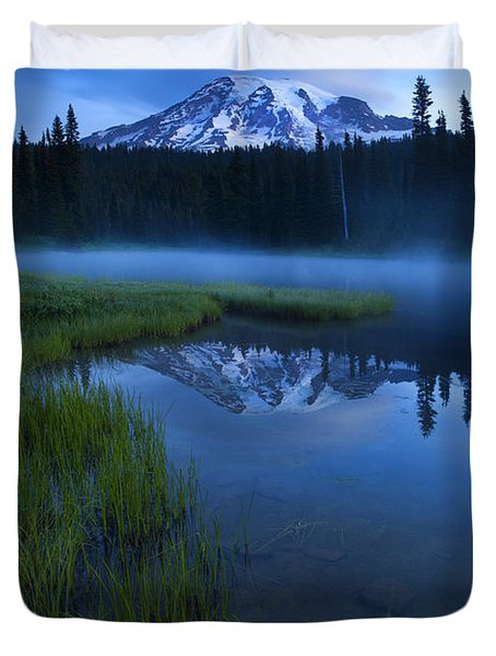 Twilight Mist Rising Duvet Cover by Mike  Dawson